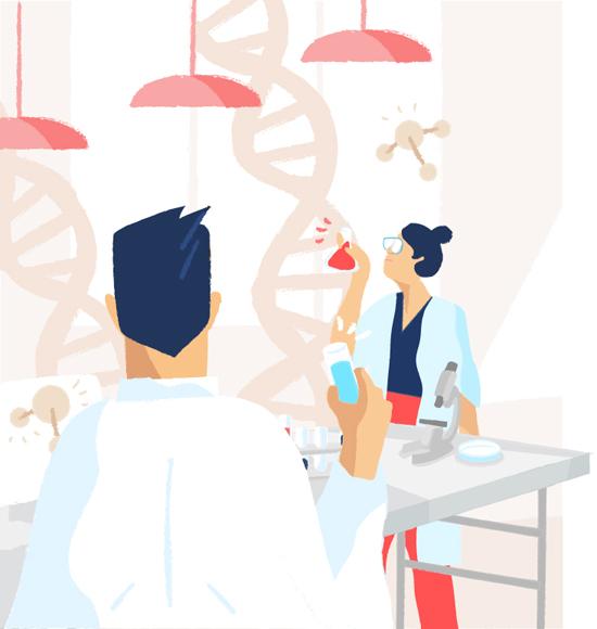 Zwei Laborärzte stehen im Medizinlabor und arbeiten mit Laborproben.